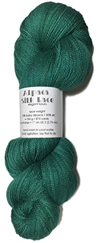 100% Baby Alpaca Lace - Hand Dyed Alpaca Silk Yarn, Kettle Dyed: Leaf Green, Lace Weight, 100 Grams, 875 Yards, 70/30 Baby Alpaca/Mulberry Silk