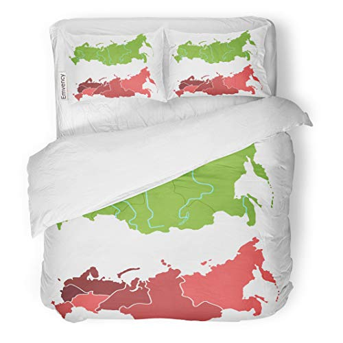 Semtomn Decor Duvet Cover Set Full/Queen Size Russia Map Outline and Allocation of Federal Districts Separated 3 Piece Brushed Microfiber Fabric Print Bedding Set -