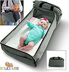 Discover the amazing Scuddles Portable 3 in 1 Organizer Tote Bag combines with a foldable travel bed, a diaper bag and a changing station, all in the shape of a convenient tote bag. This specially designed bassinet is a must-have for every pa...