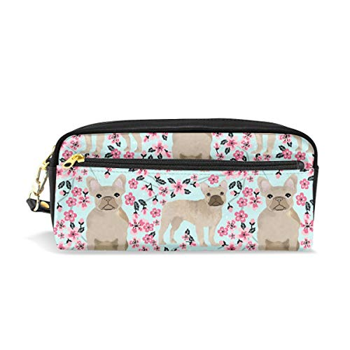 - Pencil Case Pouch French Bulldog Fawn Cherry Blossom Large Capacity Pen Bag Makeup Pouch Durable Students Stationery Two Pockets with Double Zipper