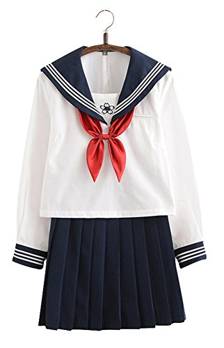 Anime Costumes School Uniform (Japanese School Uniform Cosplay, Women Girls Halloween Anime Sailor Costume Outfits White (L--US 12-14,)