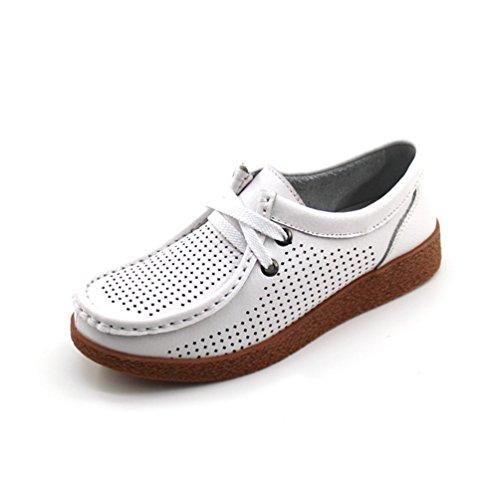Élégant Plateforme Sandales Résistant Confortable Chaussures Trou À L'usure Loisir Mocassins Blanc Femme Cuir Jrenok wSz1q1