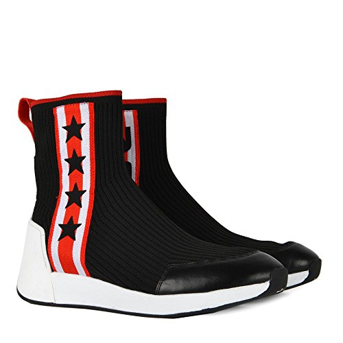 Ash Jango High Top Star Trainers Black Red Stretch Knit Black/Red 1aPTV3k7JD