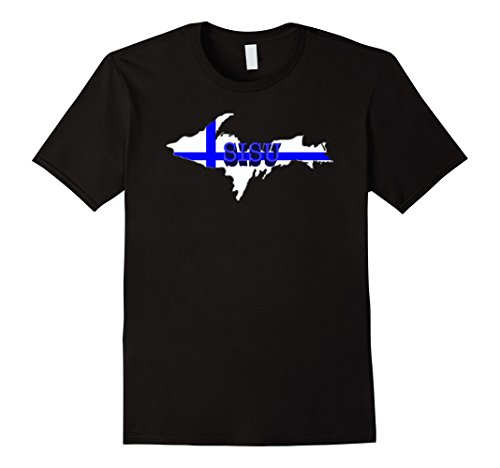 Mens SISU Finland Flag Upper Peninsula TShirt Finnish Yoopers Medium Black Finland Flag T-shirt