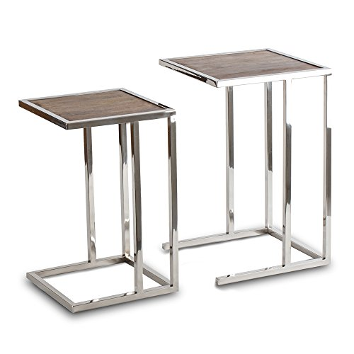 Nested Side Tables (Lambruisse Nested Side Coffee Tables End Tables Accent Tables in Stainless Steel Frame and Mango Wood Top - set of 2)