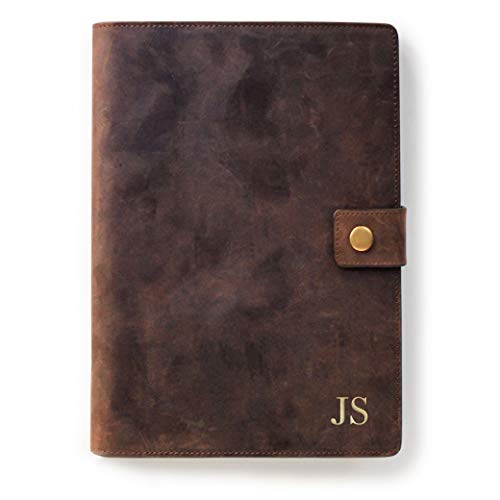 (Monogrammed Full Grain Premium Leather Refillable Journal Cover with A5 Lined Notebook, Pen Loop, Card Slots, Brass Snap by Case Elegance)