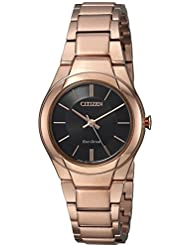 Citizen Womens Eco-Drive Quartz Stainless Steel Casual Watch, Color:Pink (Model: FE2093-54E)