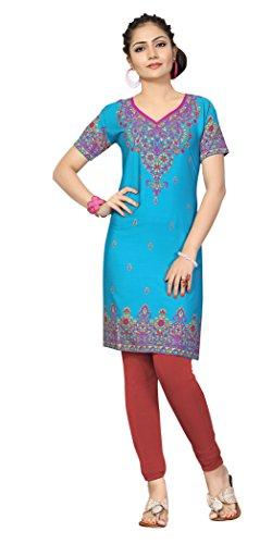 Indian Tunic Top Womens Kurti Printed Blouse India Clothing – Small, L 129