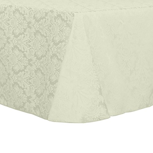 (Ultimate Textile -2 Pack- Saxony 90 x 132-Inch Rectangular Damask Tablecloth - Jacquard Weave Emblem Crest Design, Ivory Cream)