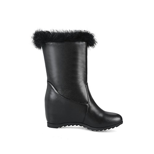 Fringed Wedges Womens Black Boots Urethane ABL10543 Mid Calf BalaMasa Hva5qww