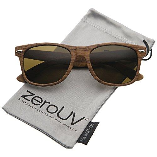 zeroUV - Classic Modern Wood Print Square Horn Rimmed Sunglasses 52mm