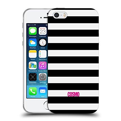 Official Cosmopolitan Black Stripes Collection Soft Gel Case for Apple iPhone 5 / 5s / SE