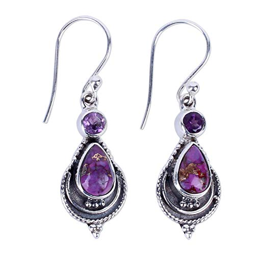 (Jewelryjintarawateestore Fashion Long 'Mughal Lilac'Purple Amethyst Handcrafted 925Silver Dangle Earrings)