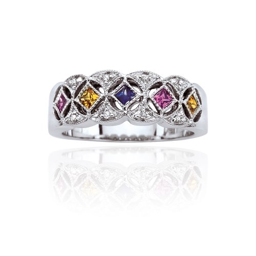 14K White Gold 0.04 ct. Diamond and 1/2 ct. Multicolor Sapphire Ring