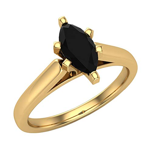 (1/2 Carat Total Wt Black Diamond Solitaire Engagement Ring Marquise Cut 14K Solid Yellow Gold Comfort Fit (Ring Size 8))