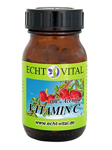 Natürliches - ECHT VITAL Vitamin C - 100 % Acerola-Fruchtpulver mit 420 mg pro Kapsel - 1 Glas mit 60 Kapseln