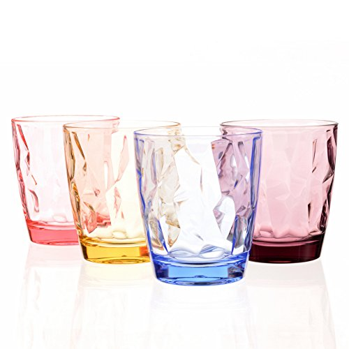 Acrylic Drinking Glasses Set Colored Plastic Tumblers Unbreakable Small Water Drinking Cups for Kids Cute Juice Glassware Stackable Camping Picnic Beach Party Drinkware BPA Free Dishwasher - Plastic Colored Glasses