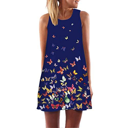 fbfee350386ed5 Malbaba Womens Dress Summer O-Neck Boho Sleeveless Floral Printed Beach  Mini Dress Casual T-Shirt Short Dress