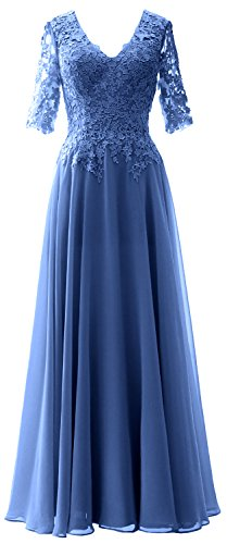 MACloth Elegant Half Sleeves Mother of Bride Dress V Neck Evening Formal Gown Horizon