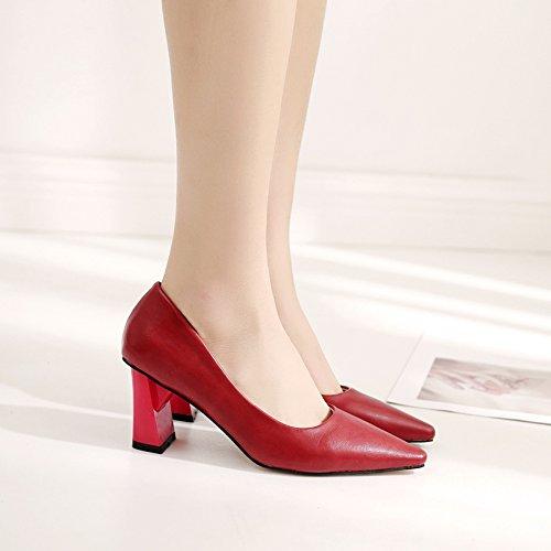 Xue Qiqi Court Schuhe Stöckelschuhe mit Groben Groben Groben Fersen mit Damenschuhen mit Wilden Roten Absatzschuhen f47399