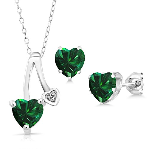 2.05 Ct Green Simulated Emerald White Diamond 925 Silver Pendant Earrings Set