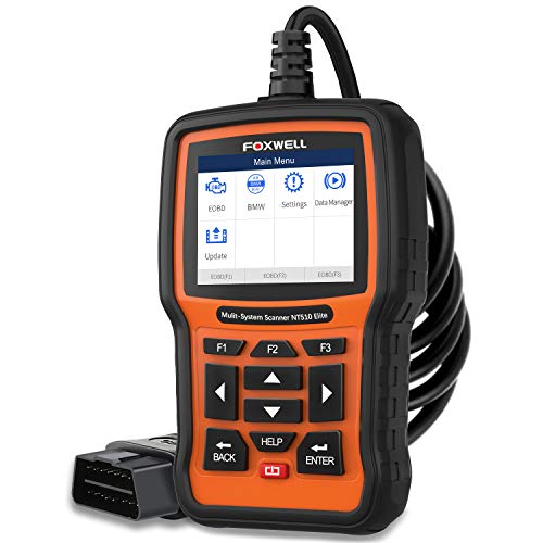 FOXWELL NT510 Car Code Reader for BMW Before 2019 Auto Full-System Diagnostic Scan Tool OBDII Scanner with EPB SAS TPS Oil Service Reset Active Test and Battery Replacement
