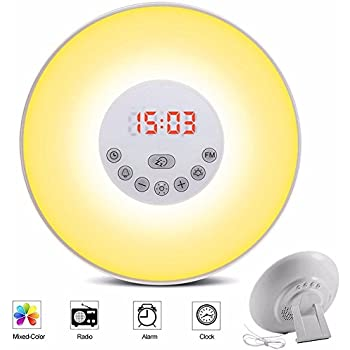 Sunrise Alarm Clock, Wake Up Light Sunrise Simulator Daylight Alarm Clock for Heavy Sleepers, with 7 Colors, FM Radio, Nature Sounds, Snooze Function and Touch Control