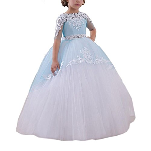 Holy Vestidos de First Communion Dresses White Blue Girls 1-14 Year Old (Size 6) (Ball Gown For Girls)
