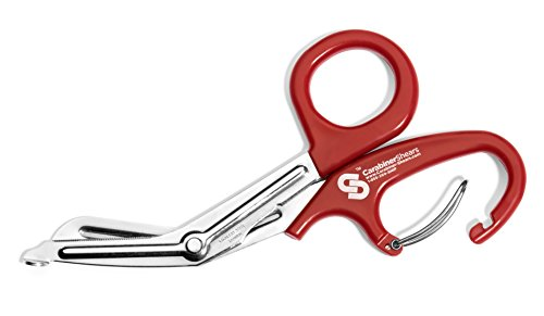 Carabiner-Shears EMT Trauma Shears with Carabiner and Stainless Steel Bandage Scissors, Red