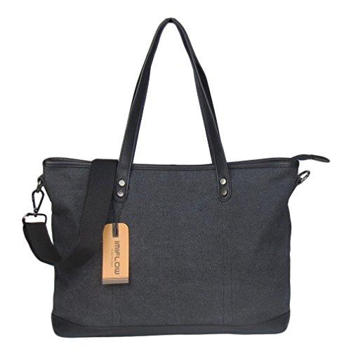 (Imiflow Women's Work Bag Large Top Handle Shoulder Tote Satchel Bag Canvas Shopper Handbag Purse 006 Charcoal)