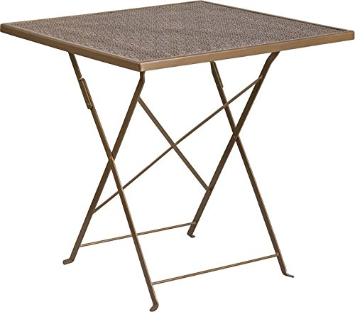 Westbury Square 28'' Gold Steel Folding Table, 28''H