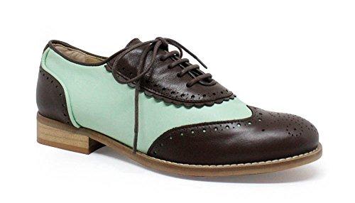 Verde Claro Punta Bajos Marrón Estilo Zapatos Simone Oxford 4qxFI