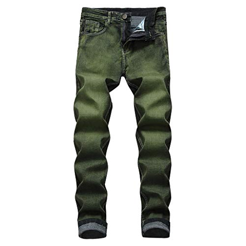XQXCL Men's Stretchy Biker Jeans Slim Fit Long Solid Color with Zipper Button Denim Pants Green ()