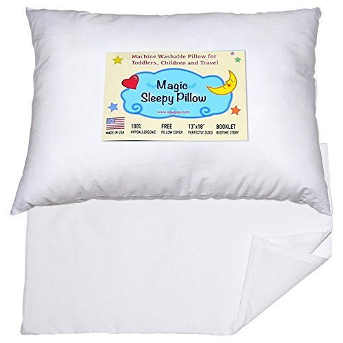 Toddler Travel Pillow 13x18 - Delicate Soft & Hypoallergenic White Cotton Shell with Pillowcase & Bedtime Story - Made in USA (Standard Shells Sham)