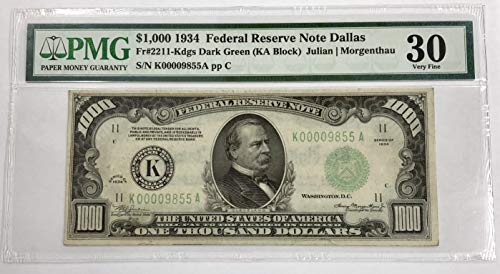1934 Federal Reserve Note - 1934 $1000 Dollar Bill Federal Reserve Note Dallas $1000 PMG Very Fine