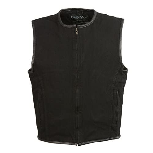Cheap CLUBVEST-Men's Zipper Front Denim Vest w/ Leather Trim-BLACK-XL supplier