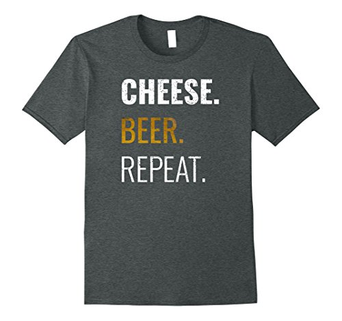 Mens Cheese Beer Repeat Shirt, Funny Distressed Novelty T...