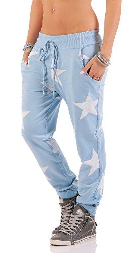ZARMEXX Donna Sweatpants Cascante pantaloni Boyfriend pantaloni Pantaloni Jeans Fitness sportpantaloni Yogapants Jogger Loose Fit Big Star Taglia Unica azzurro