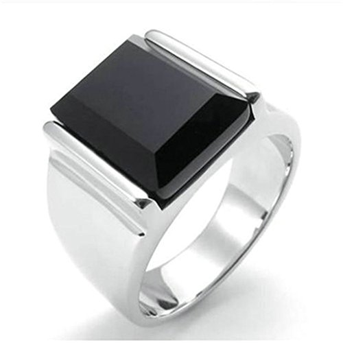 [Stainless Steel Ring for Men, Rectangle Ring Gothic Black Band Silver Band 15MM Size 10 Epinki] (Boss Hog Costume)