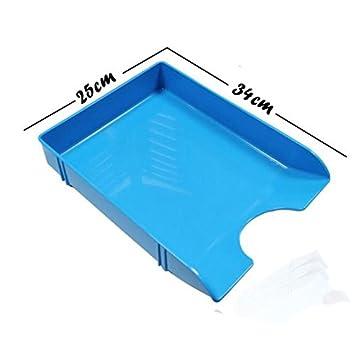 OA0004 - Set de 2 bandejas de plástico azul, apilables, especial para el escritorio