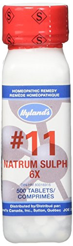 Hyland's Cell Salts #11 Natrum Sulphuricum 6X Tablets, Natural Homeopathic Relief of Flu, Nausea, and Vomiting, 500 Count Flu Relief Tablets