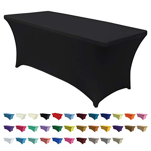 ABCCANOPY Spandex Table Cover 6 ft. Fitted 30+ Colors Polyester Tablecloth Stretch Spandex Table Cover-Table Toppers (Black) (Canopy Affordable Beds)