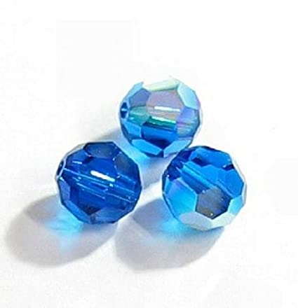 ef46ba038 Image Unavailable. Image not available for. Color: 6 pcs Swarovski Crystal  5000 Round Faceted Bead Capri Blue AB ...