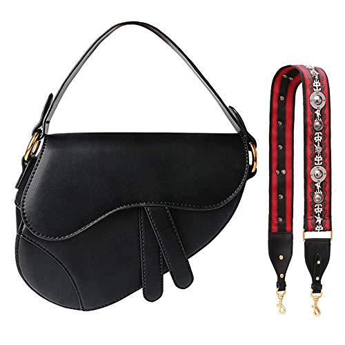 (Olyphy Designer Shoulder Bag for Women Fashion Small Crossbody Handbag Saddle Purse (Black))