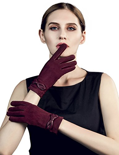 YISEVEN Women's Touchscreen Sheepskin Suede Leather Gloves Bow Knot and Hand Warm Flecce Fur Lined Work for Cell Phone iPad Xmas Gifts Ladies Winter Accessories Luxury Dress Driving, Wine Red 6.5