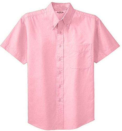 (Clothe Co. Mens Short Sleeve Wrinkle Resistant Easy Care Button Up Shirt, Light Pink, XL)