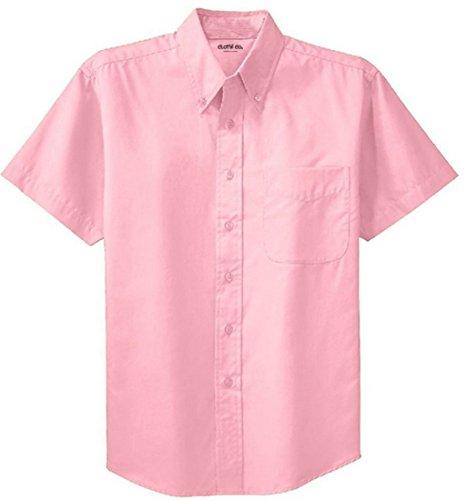 Clothe Co. Men's Short Sleeve Wrinkle Resistant Easy Care Button Up Shirt, Light Pink, 5XL
