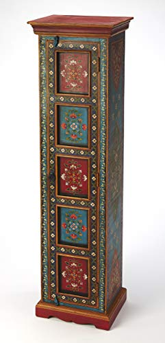 Hand Curio Cabinets Painted - Butler Amir Hand Painted Tall Cabinet in Multi