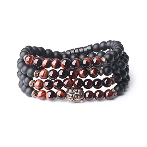AmorWing 6mm Buddha Head Matte Onyx Tiger Eye 108 Mala Beads Stones Bracelet Necklace