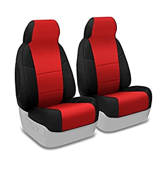 Coverking Custom Fit Front 50/50 High Back Bucket Seat Cover for Select Saturn SL/SL1 Models - Spacermesh 2-Tone (Red with Black Sides)
